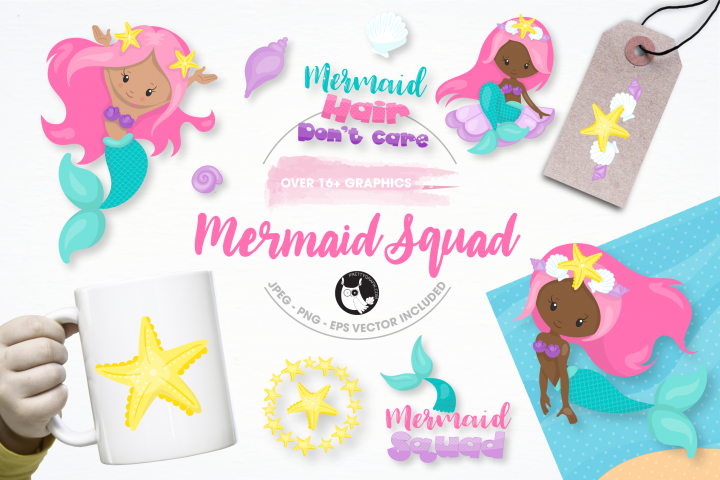 mermaid squad graphics and illustrations