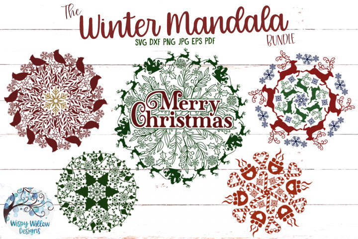 Winter Mandala SVG Bundle | Christmas Mandala SVG Cut Files