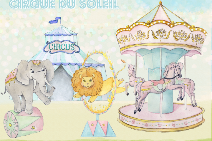 Watercolor Circus Clipart Images by Whimseez