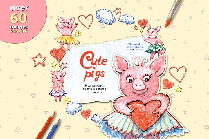 Cute pastel pigs set