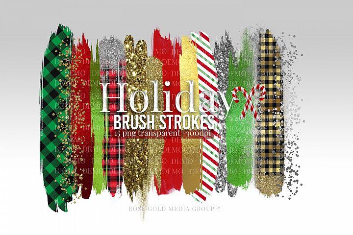 Christmas Brush Strokes, Plaid Brush Strokes, Glitter