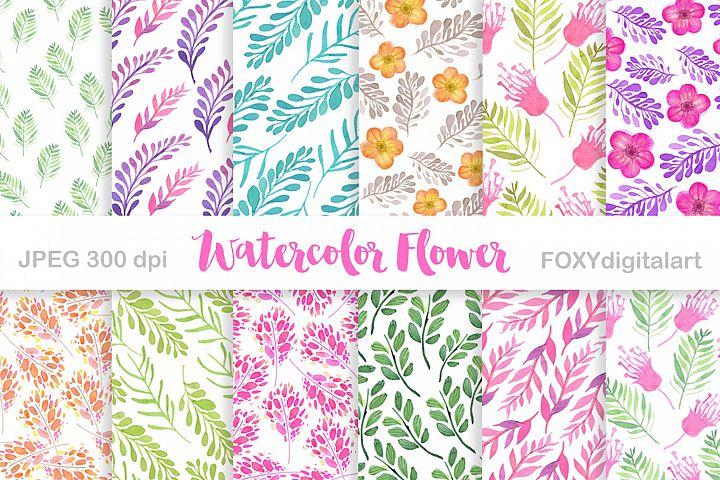 Digital paper watercolor flowers wedding retro spring floral
