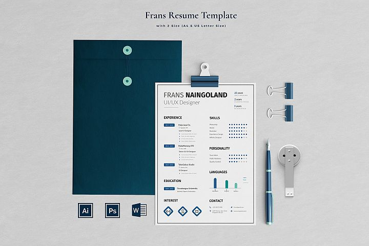 Frans Resume with Cover Letter Professional Template
