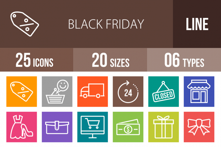 25 Black Friday Line Multicolor B/G Icons