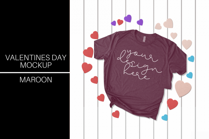 Valentines Day T-shirt Mock Up - Maroon