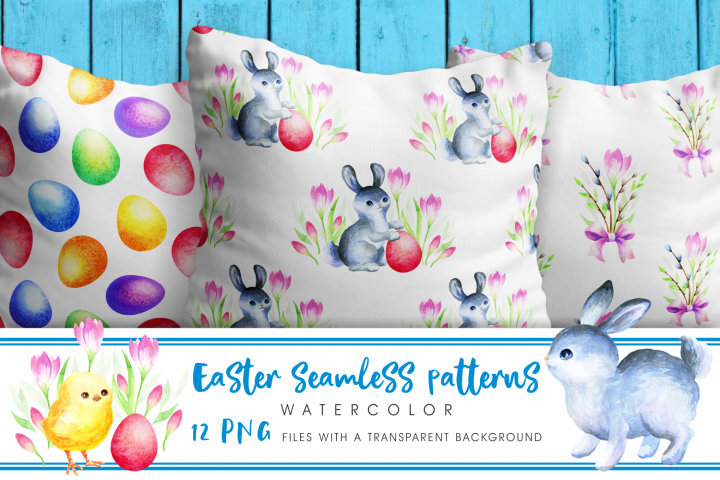 Easter seamless patterns. Watercolor