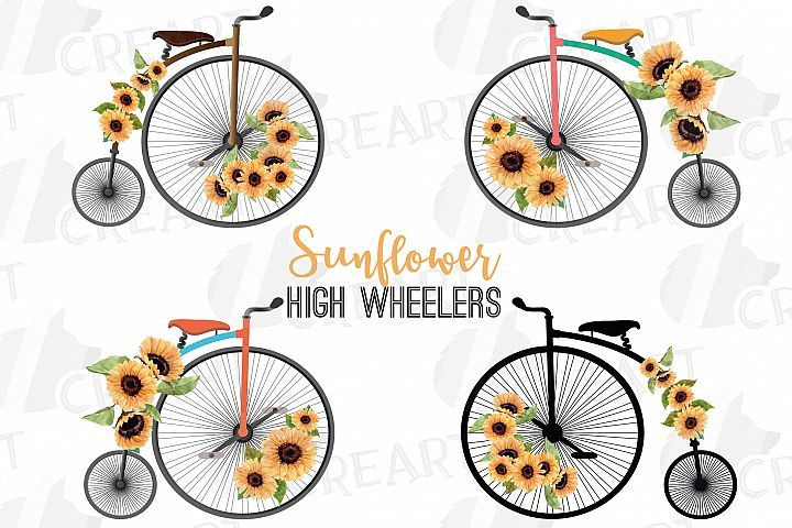 Sunflower bouquets high wheelers clip art. Floral bicycles