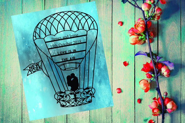 Couple Hot Air Balloon Papercut Template
