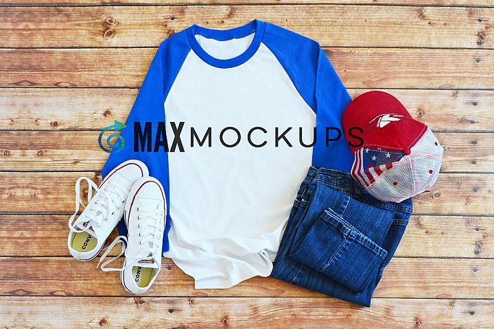 White, blue raglan baseball shirt Mockup, summer, July 4th