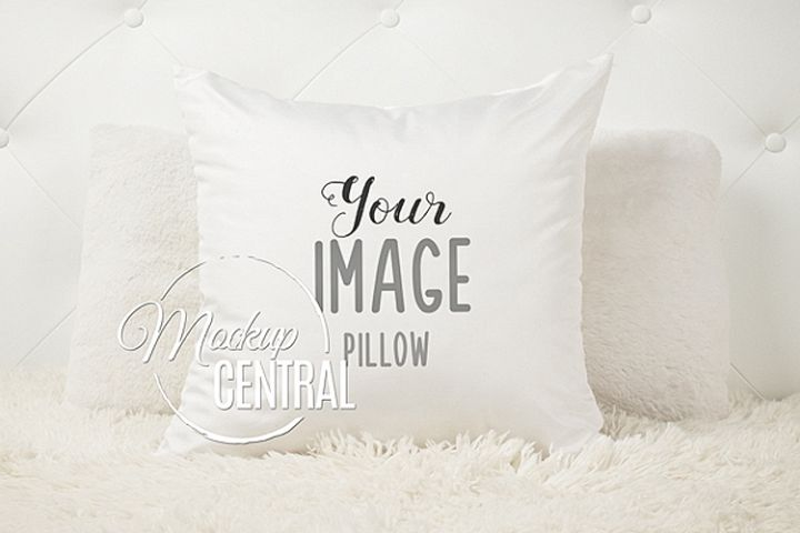 Blank White Square Bedroom Mockup Bedroom Pillow JPG