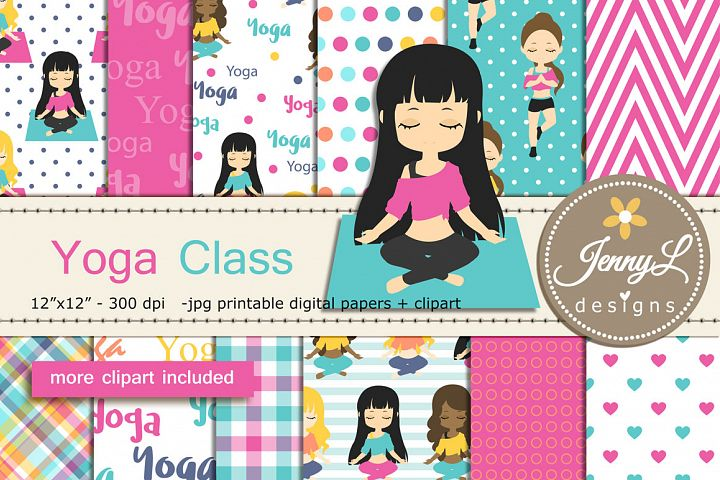 Yoga Digital Papers and Girls Clipart SET