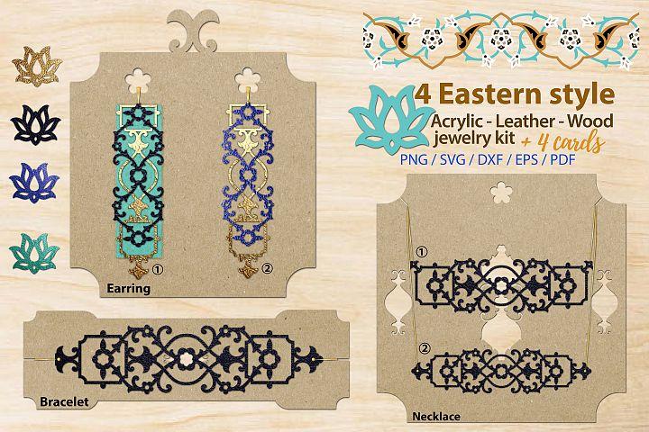 Eastern style acrylic leather wood jewelry kit