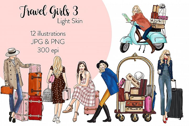 Fashion illustration clipart - Travel Girls 3 - Light Skin