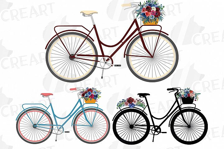 Floral bicycles with watercolor bouquets decoration clip art