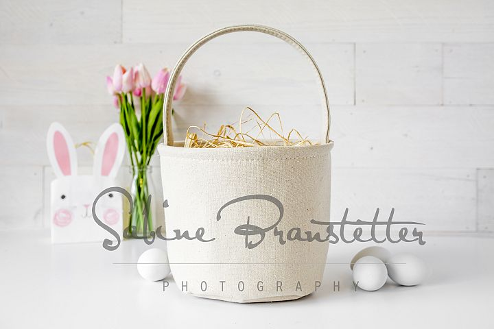 Styled Stock Photography Burlap Easter Basket Mockup