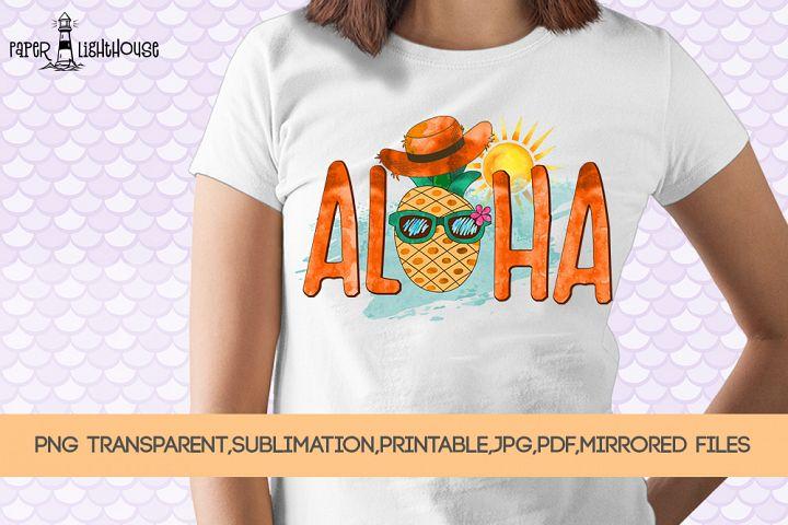 Aloha Funny Pineapple - Summer sublimation, printable, png