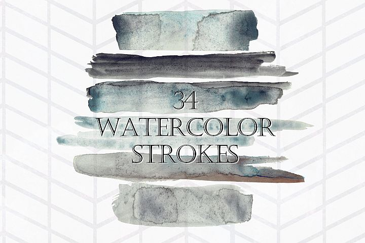 34 Moody Watercolor Brush Strokes