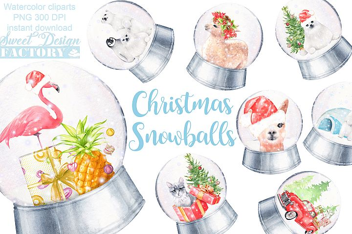 Christmas globe watercolor clipart