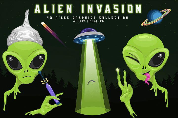 Alien Invasion 42 Piece Graphics Set