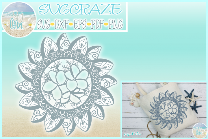 Hand Drawn Plumeria Mandala Zentangle SVG Dxf Eps Png PDF