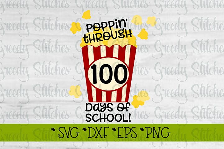 Poppin Through 100 Days Of School SVG, DXF, EPS, PNG.