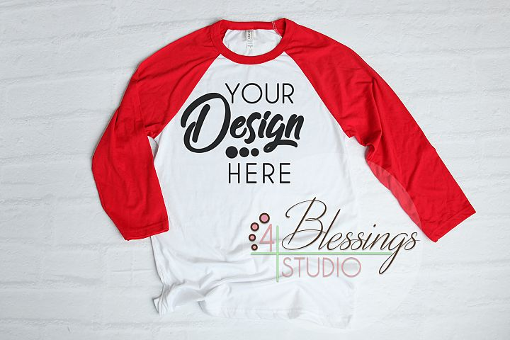 Raglan Shirt Mockup Bella Canvas 3200 Baseball TShirt