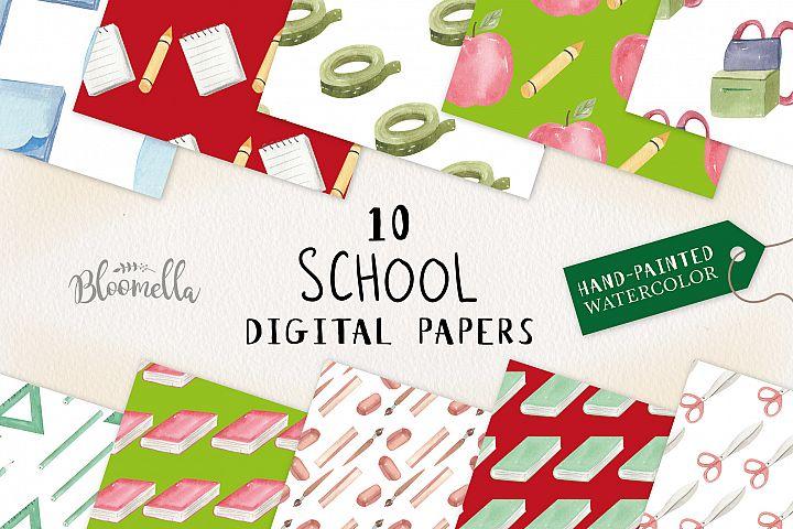 School Books Apple Pens Seamless Patterns Digital Papers Fun