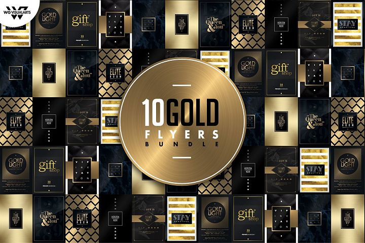 10 GOLD MINIMAL Flyer Templates Bundle