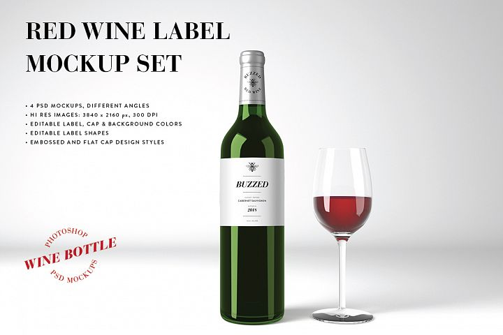Red Wine Mockup Set - Photoshop PSD