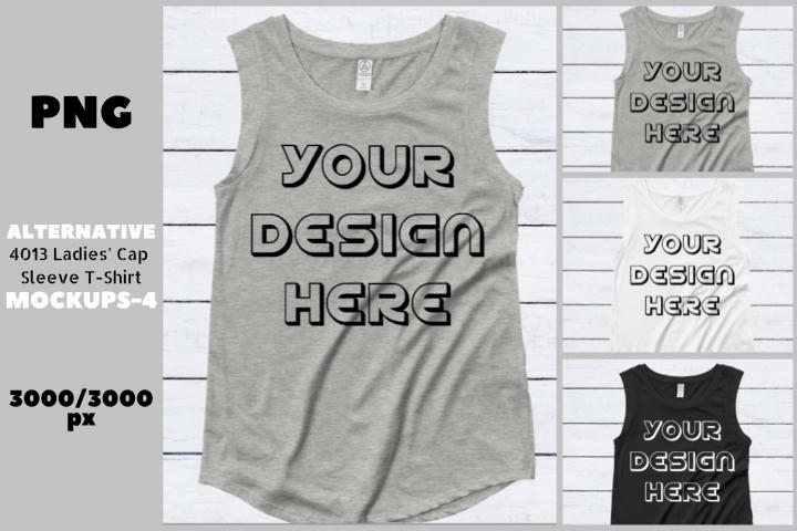 Alternative 4013 Ladies Cap Sleeve Flat T-Shirt Mockups - 6