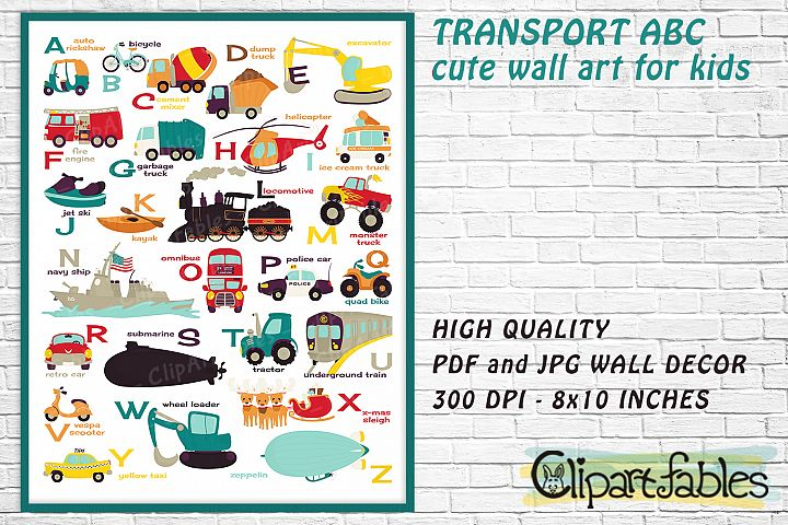 English TRANSPORT alphabet, Vehicle ABC, wall decor for kids