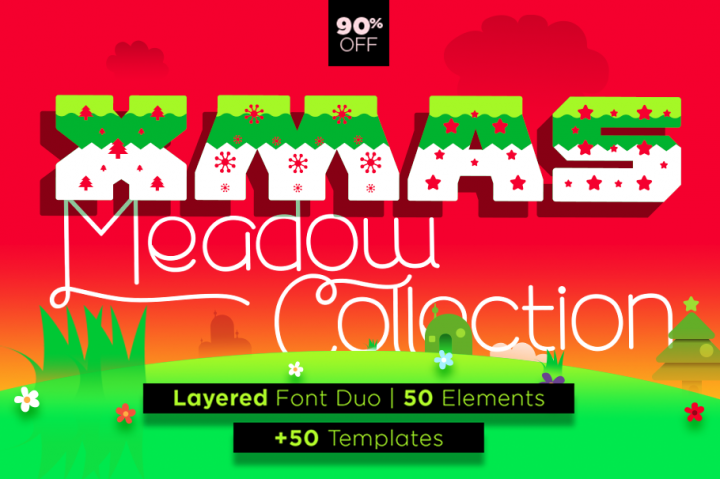 CHRISTMAS FONT DUO | 50 GRAPHICS BUNDLE | 50 TEMPLATES
