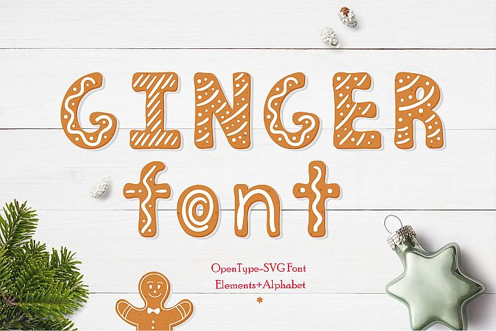 Gingerbread Christmas color SVG font