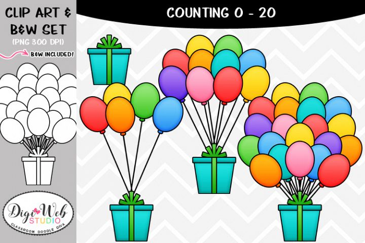 Clip Art / Illustrations - 0-20 Counting Balloons