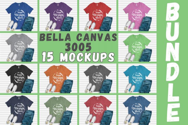 MEGA BUNDLE 15 Mockups Bella Canvas 3005 V-neck Unisex
