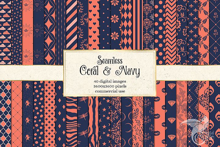 Coral and Navy Patterns Digital Paper