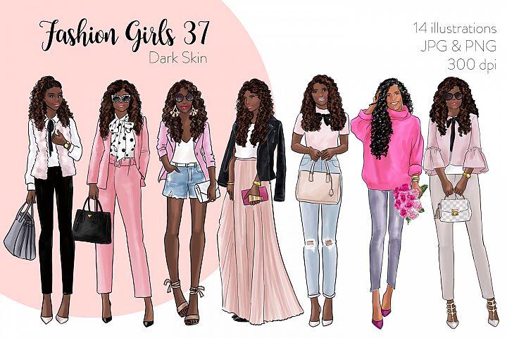 Fashion illustration clipart - Fashion Girls 37 - Dark Skin