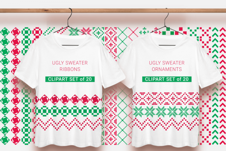 Ugly Sweater Ornaments Christmas Ribbons Clipart PNG Files