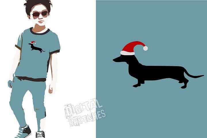Dachshund Vector Graphic, Christmas SVG, Santa Claus Clipart