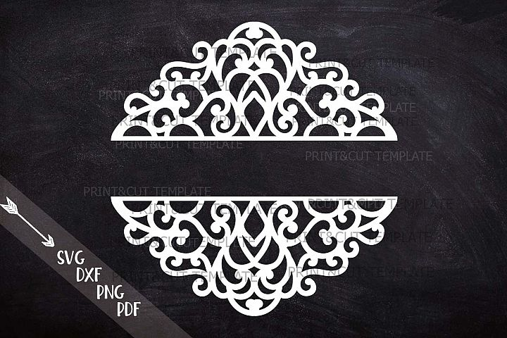 Swirls Split Monogram Mail Box Wedding Family Name sign svg