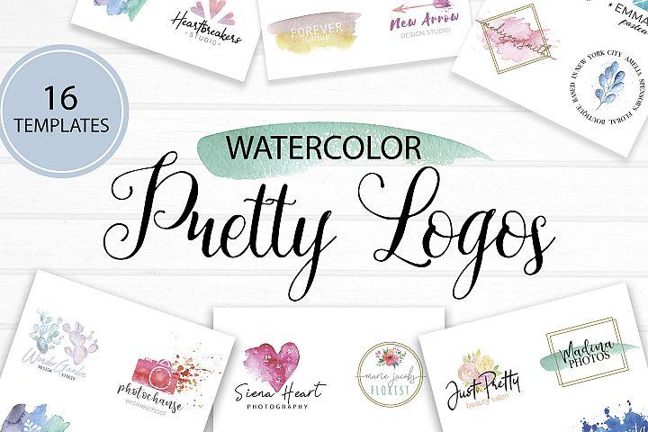 Pretty logo templates. Watercolor Logos