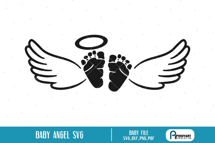 Baby Angel svg - a baby feet with wings vector file