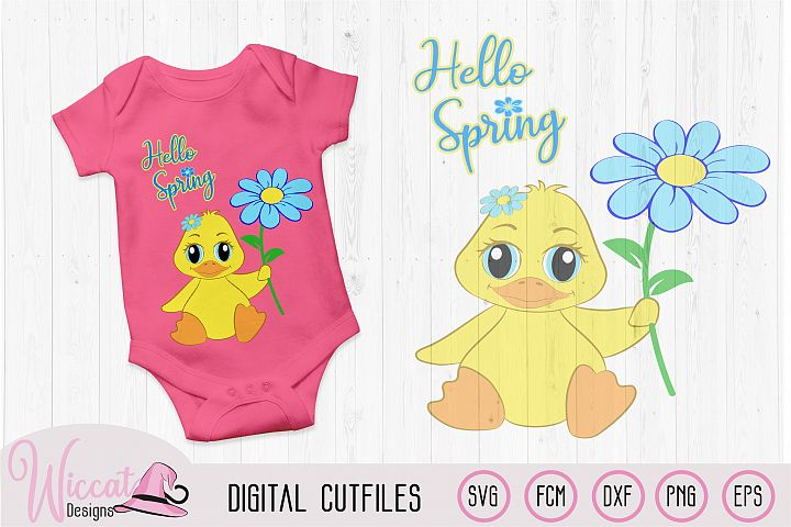 Hello spring girl duck svg, Baby svg, svg files