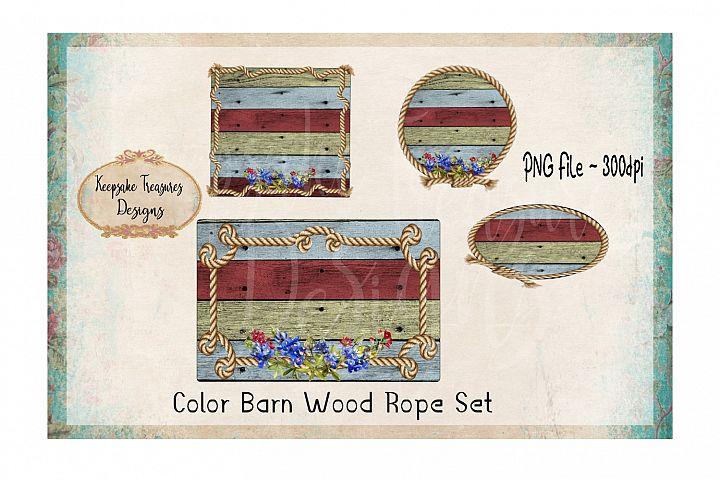 Background Splashes, Color Barn Wood Rope, Set of 4