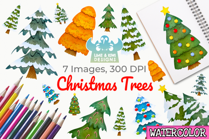 Christmas Trees Watercolor Clipart, Instant Download