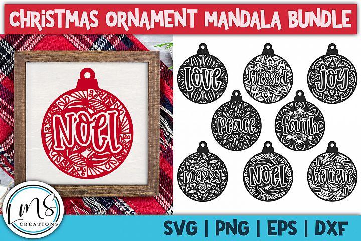 Christmas Ornament Mandala Bundle SVG, PNG, EPS, DXF