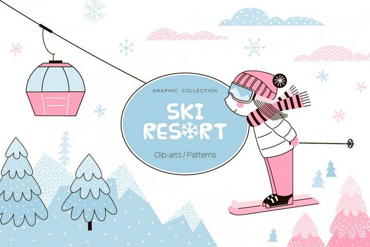 Ski Resort graphic set