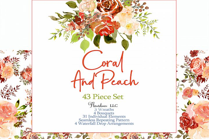 Coral and Peach Watercolor Clipart, Hand painted