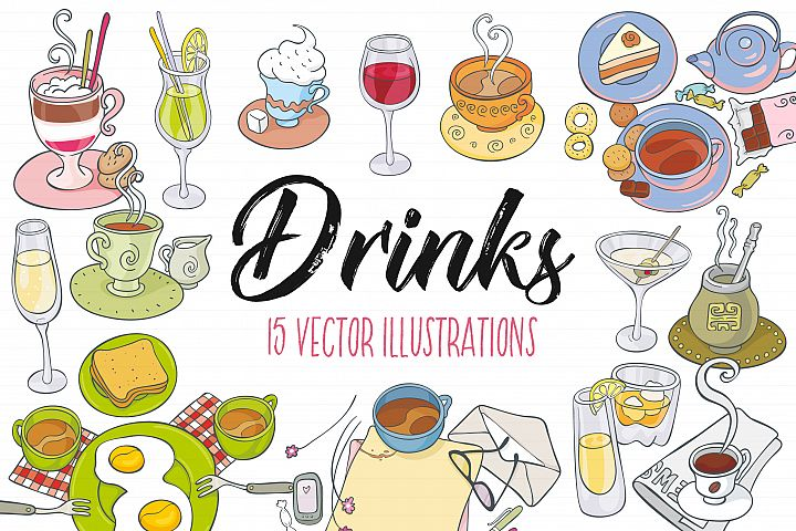 Drinks, vector illustrations - Free Design of The Week Font