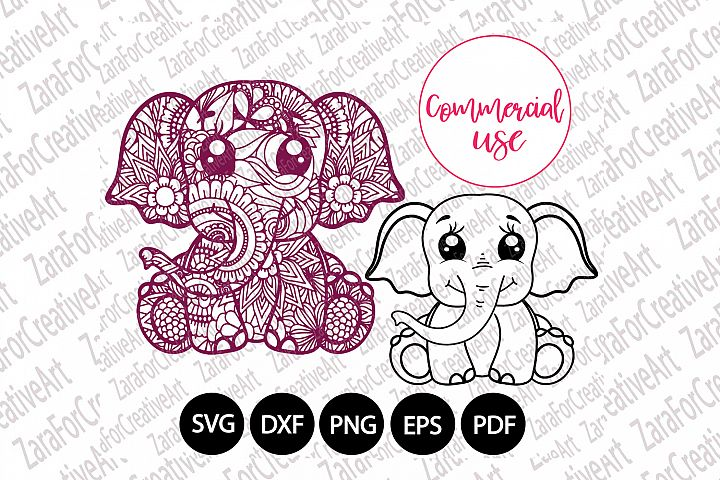 cute elephant mandala svg